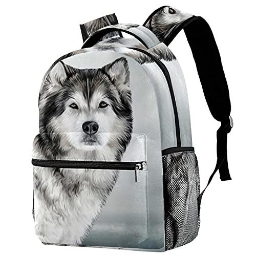 XiangHeFu Mochila pequeña para niñas niño al aire libre a pie bolsa de viaje mochila escolar perro de alaska Mochila estampada
