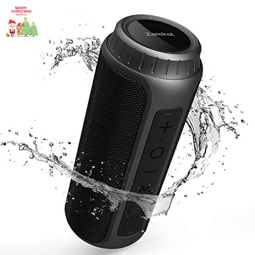 Zamkol 30W Bluetooth Lautsprecher, IPX6 Wasserdichter Wireless tragbarer TWS Lautsprecher, AUX und TF Karte, 5.0 Bluetooth mit Wasserfest Stoßfest Mikrofon Portable 360 Stereo Audio (Schwarz)