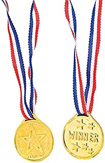 Kicko 36 Gold Medal Necklaces - Party Game Prizes - Announcement of Winner - Number 1 Winner