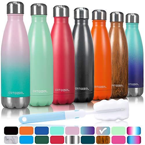 arteesol Trinkflasche, 350/500/750 ml Edelstahl Wasserflasche Doppelwandig Vakuumisoliert Water Bottle Schmaler Mund & BPA-frei für Outdoor-Sport Fitness Workout Camp & Office