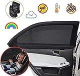Parasol Coche Lateral Protector Solar Universal para Bebés, Niños y Mascotas, Doble Tejido para Máxima Protección contra Rayos UVA, Fácil Instalación, Pack De 2 Unidades