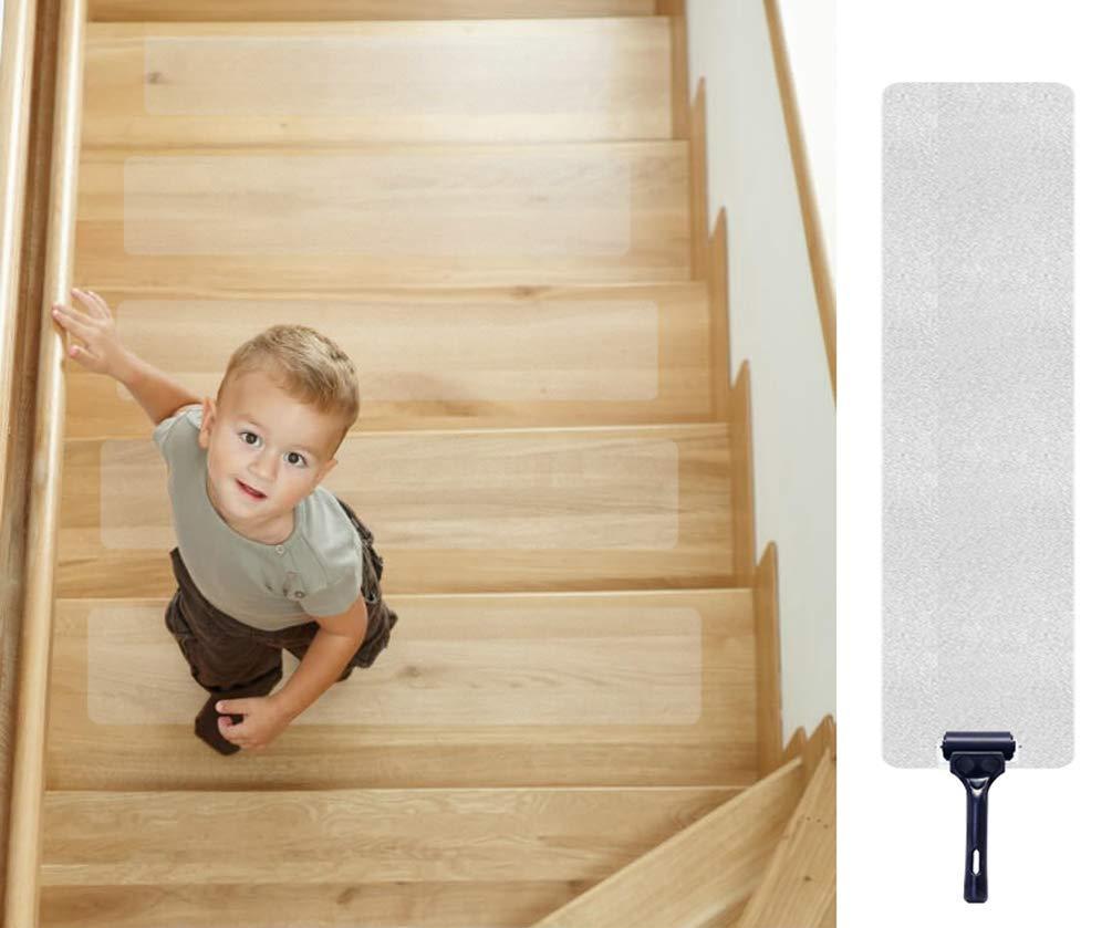 Escalera Antideslizante, Queta Franja Antideslizante Para Escaleras Franja Antideslizante Transparente Alfombrillas Antideslizantes, Paquete de 15, 10 cm x 60 cm: Amazon.es: Bricolaje y herramientas