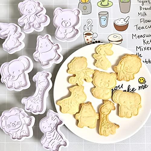 GS 8 Pack Ausstechformen, Cookie Backen Form, 3D-DIY Cookie Cutter, Handpresse Keksstempel,Keksausstecher Osterausstecher Plätzchenform, verschiedene Tierformen