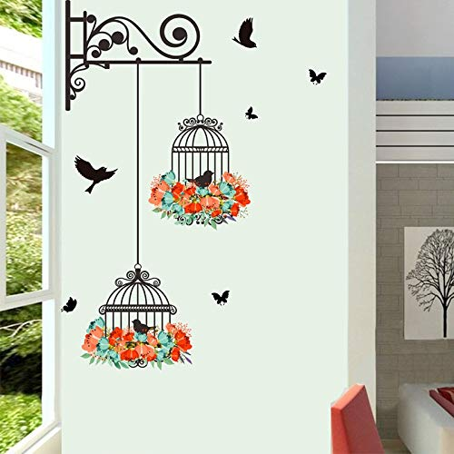 MSIKU - Adhesivo decorativo para pared, diseño de jaula de pájaros