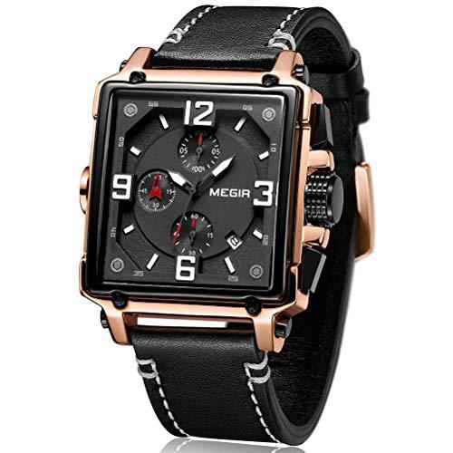 Relojes para Hombre oro rosa, Reloj grandes Rectángulo, Relojes Militar de Lujo de Cuero...