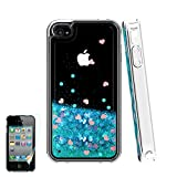 Atump iPhone 4 Case,Apple iPhone 4 4S Case, Glitter Flowing Liquid Floating Protective Shockproof Clear TPU Girls Cover Case for Apple iPhone 4/4S Blue