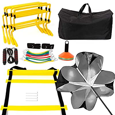 Speed Agility Training Equipment Set - Includes 4 Adjustable Hurdles, Agility Ladder, Leg Resistance Bands, Resistance Parachute, 20 Disc Cones, Jumping Rope & Carry Bag - Designed For All Sports