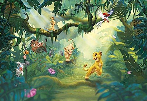 empireposter Lion King Jungle - Disney Foto-Tapete - Wallpaper - Mural 368x254cm - 8-teilig. Beigelegt sind eine Packung Kleber und eine Klebeanleitung.