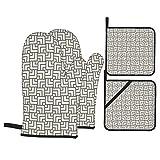 Juego de 4 manoplas para horno y soportes para ollas,estampado de líneas de laberinto vintage moderno,guantes para barbacoa con almohadillas calientes resistentes