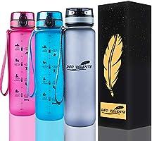 DEO VOLENTE 1Litre water bottle with time marker,BPA Free sport water bottle,Leak Proof Flip Top Lid drink bottle with...