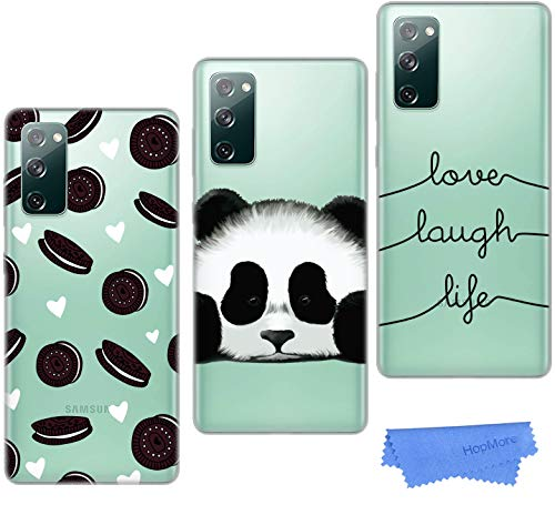 3 Hüllen für Samsung Galaxy S20 FE / S20 FE 5G Silikon Hülle Transparent mit Motiv Schutzhülle Durchsichtig Samsung Galaxy S20 FE Handyhüllen Dünn Cover Silikonhülle Clear Cases - Keks Panda Lächeln