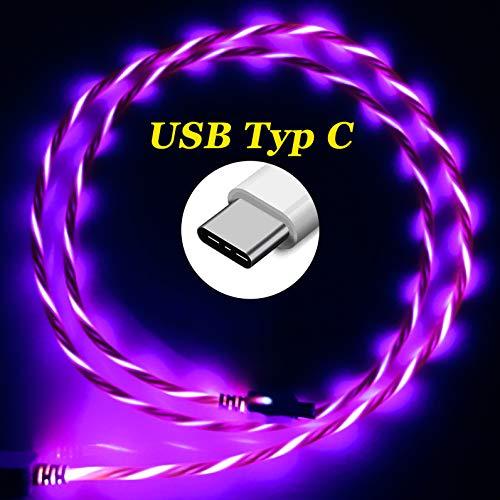 LifeShift Ladekabel Datenkabel USB Typ C Leuchtend rot - rosé fließende LED Optik für USB-C - Smartphones/Tablets 1m (rot-rosé)