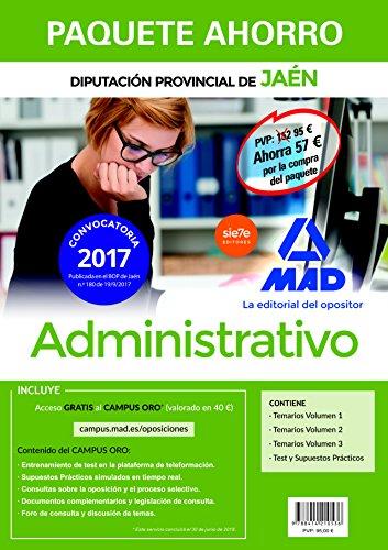 Paquete Ahorro Administrativo de la Diputación Provincial de Jaén. Ahorro de 57 € (incluye Temarios 1, 2 y 3; Test y Supuestos prácticos; y acceso a Campus Oro)