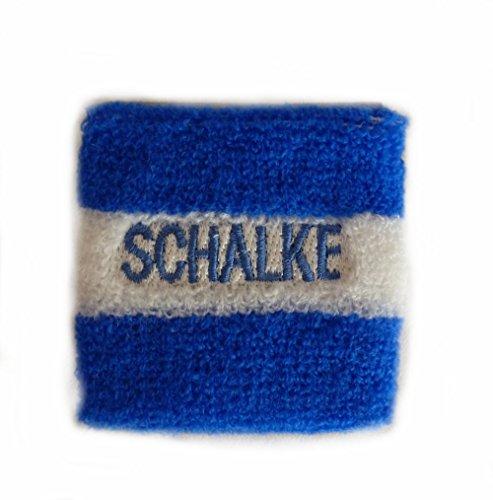 wuerfel24 Schweißband/Armband/Handgelenkband SCHALKE blau mit weißen Streifen u.a. für Fußball Fans aus Gelsenkirchen - 1 Stück