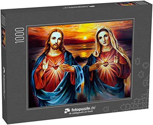 Puzzle 1000 Teile Jesus Christus und Maria mit Herz. Ölmalerei - Klassische Puzzle, 1000 / 200 / 2000 Teile, edle Motiv-Schachtel, Fotopuzzle-Kollektion 'Kirche'