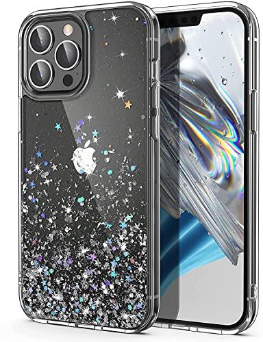 ULAK Glitzer Hülle Kompatibel mit iPhone 13 Pro Max, Sparkle Sterne Glitter TPU Stoßfest Handyhülle Durchsichtig Bling Schutzhülle Phone Hülle Cover für iPhone 13 Pro Max 6,7 Zoll - Silber Glitzer
