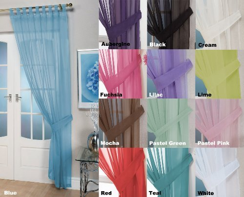 John Aird Woven Voile Tab Top Curtain Panel - Free Tieback Included (Blue, 60' Wide x 90' Drop)