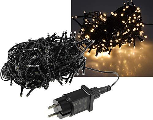 LED Lichterkette 20 Meter mit 200 LEDs I Schwarzes Kabel I Für Innen und Aussen | Spritzwassergeschützt IP44 | Warmweiß