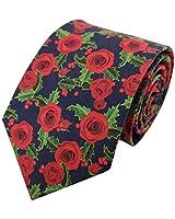 Mens Ties Gift for Men Necktie Rose Flowers Floral Print Cotton Tie, Navy & Red