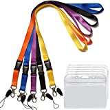 5 Pack ID Badge Holder with Safety Lanyard Colorful Neck Strings with Horizontal Nametag Holder Punched Zipper Waterproof Resealable Clear Plastic Black, Blue, Yellow, Orange, Purple Lanyards