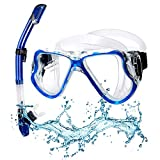 Qdreclod Dry Snorkel Set Adults, Anti-Leak Full Face Snorkel Mask 180° Wide View Breathe Free for Anti-fog Scuba Diving Mask, Easy Adjustable Strap, Impact Resistant Tempered Glass Diving Mask