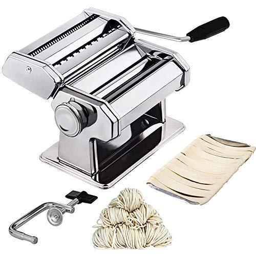 Bugucat Nudelmaschine Pasta Maker, Edelstahl Frische Manuell Pasta Walze Maschine Cutter mit Klemme für Spaghetti Nudeln Lasagne Pastamaschine Einfache Bedienung und Reinigung mit Deutschem Handbuch