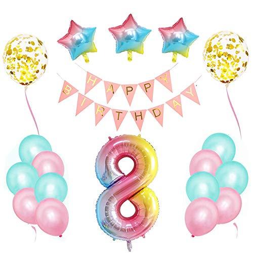 Cumpleaños Globos,Decoraciones de Cumpleaños ,Pancarta de Feliz Cumpleaños,Foil Helio Globo Número ,Decoración de Cumpleaños Rosado,Feliz Cumpleaños Decoración Globos (8)