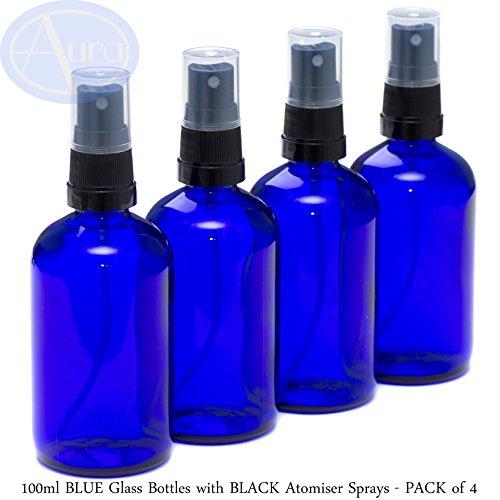 Pack de 4 botellas con atomizador negro - Cristal azul - 100 ml Uso para aceites esenciales/aromaterapia.