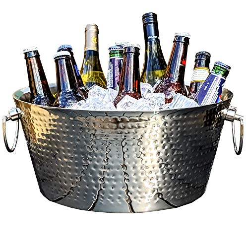 BREKX Double-Walled Insulated Hammered Stainless Steel Anchored Beverage Tub for Parties, Weddings, with Double-Hinged Handles, 3 GALLONS