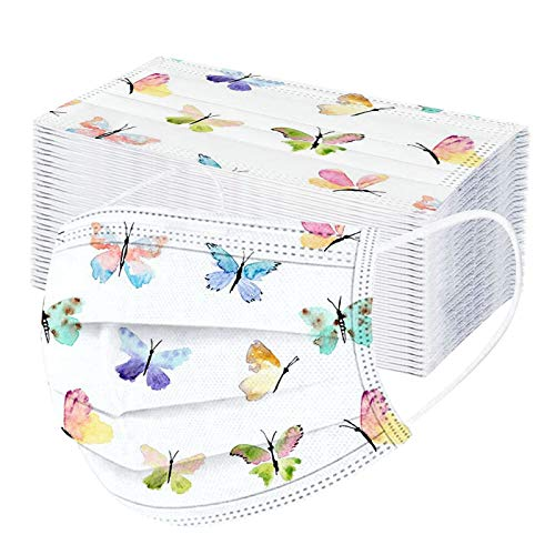 N / C 10/20/50/100 Unidades Adultos De_Mascarilla_ D_esechables De Moda Decorativa con Estampado de Mariposas Las_Mascarillas para Son Adecuadas Adecuado Fiestas 3 Capas Respirable