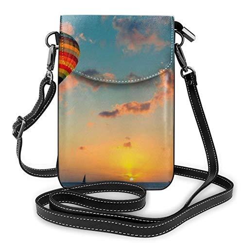AOOEDM Small Cell Phone Purse Crossbody Cell Phone Purse Hot Air Balloon Sunset Small Crossbody Bags Women Pu Shoulder Bag Handbag
