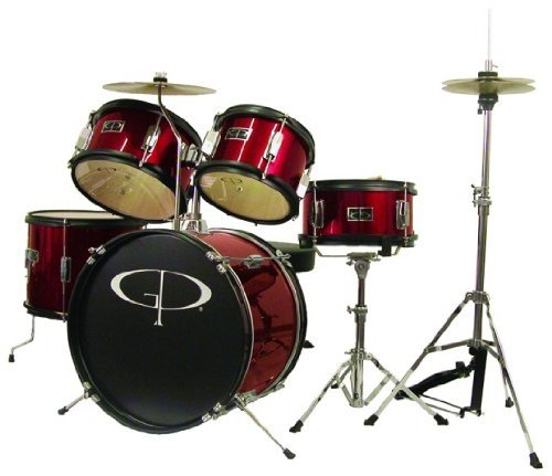 GP Percussion GP55RD 5-Piece Junior Drum Set with Cymbals and Throne in Red