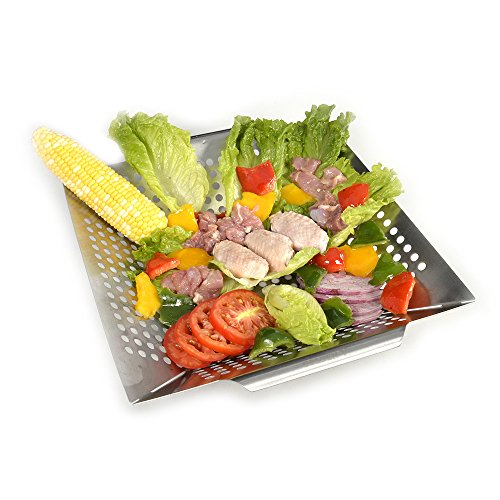 Witswell Stainless Steel BBQ Vegetable Grill Basket Fit on Gas or Charcoal Grills Also Good Grill Accessories for Cooking Fish Shrimp Chicken