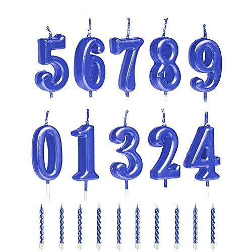 Velas Numéricas para Tartas de Cumpleaños de 10 Piezas,Velas Digitales para Tartas de Cumpleaños Número y Velas para Tartas en Espiral de 10 Piezas para de Pasteles de Bodas de Cumpleaños. Blue