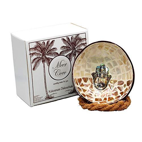 Meer Coco® Cuenco decorativo de coco con mosaico, ideal como cuenco para joyas, llaves y cuencos, set de regalo, 1 cuenco de coco y soporte – mano de Fátima crema