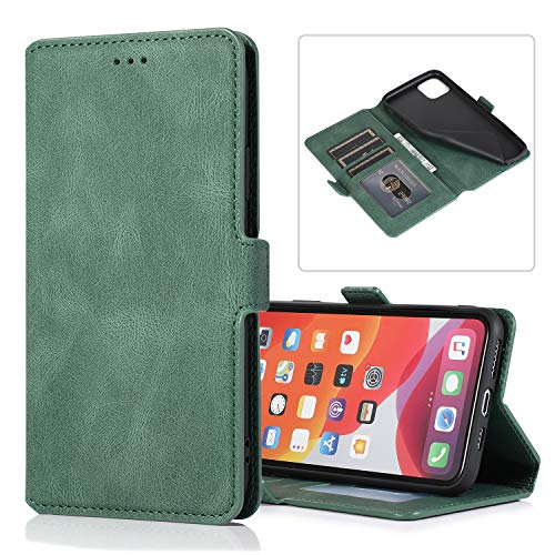 LODROC iPhone 11 Pro Hülle, TPU Lederhülle Magnetische Schutzhülle [Kartenfach] [Standfunktion], Stoßfeste Tasche Kompatibel für Apple iPhone 11 Pro 2019 - LOKLT0100048 Grün