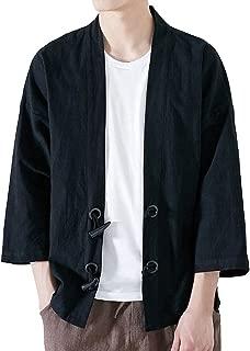 Wintialy Fashion Men Japanese Yukata Casual Coat Kimono Outwear Cotton Vintage Loose Top Plus Size
