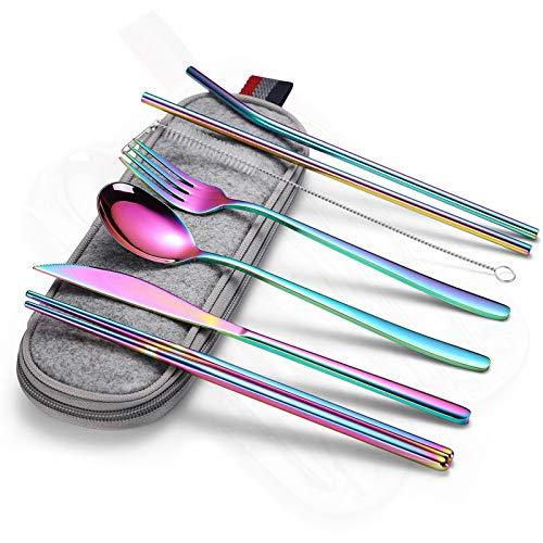 cubiertos Vajilla portátil viajes oro vajilla tenedor cuchara cuchara conjunto vajilla vajilla palillos barchsticks vajilla Camping vajilla cuberteria (Color : Rainbow)