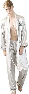 Men's Satin Nightwear Robe Lightweight Spa Bathrobe Nightgown Long Sleeve House Kimono Bathrobe Dressing Gown Bath Sleepwe...