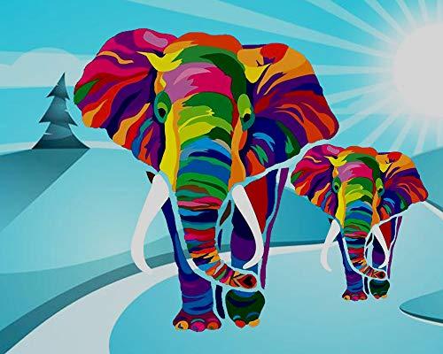 iCoostor Paint by Numbers - Kit de pintura acrílica para niños y adultos principiantes, diseño de elefantes coloridos, 40,6x50,8cm