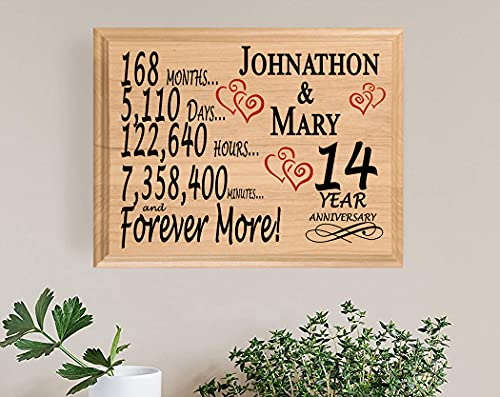Broad Bay 14th Personalized 14 Year Anniversary Wedding Gift for Wife Husband Couple Him Her