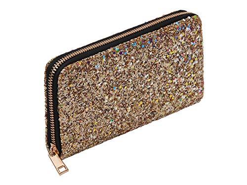 Alsino Portamonete | Portafoglio | 19 x 10 x 2 | Glitter | Chiusura Zip | Ragazza | Donna | Fashion | Design, BT-303 Glitter Oro