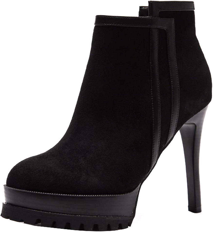 HBDLH Damenschuhe Aus Nähen Heel 11Cm Stiefel Wasserdichte Plattform Gut Bei Fuß Runden Kopf Martin Stiefel  | Qualifizierte Herstellung