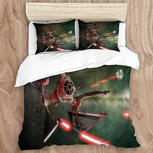 YnimioHOB Juego de Funda nórdica, Nave Espacial de Star Wars, diseño Creativo mecánico Genial, Juego de Cama Decorativo de 3 Piezas con 2 Fundas de Almohada