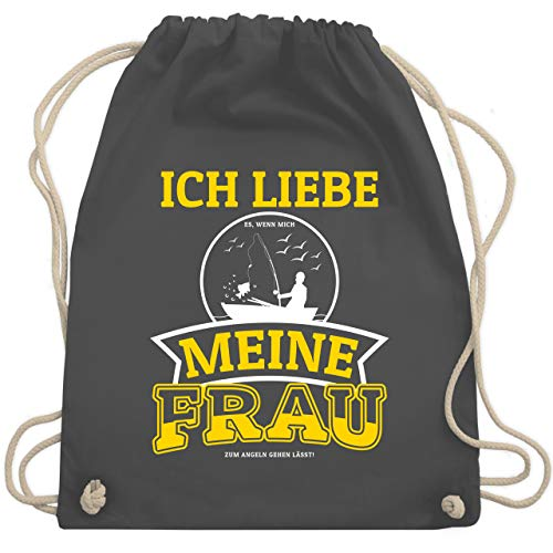 Shirtracer Angeln - Ich liebe meine Frau Angel - Unisize - Dunkelgrau - angel frauen - WM110 - Turnbeutel und Stoffbeutel aus Baumwolle