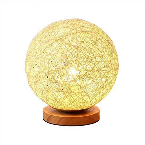 WSJTT Lámpara de escritorio esférica creativa cálida romántica lámpara de cabecera atenuación noche lámpara de escritorio Home Rattan Ball pantalla 12 * 18 * 15 cm