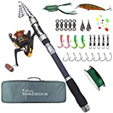 Shaddock Fishing Spin Spinning Fishing Rods and Reels Combos Waterproof Fishing Travel Tackle