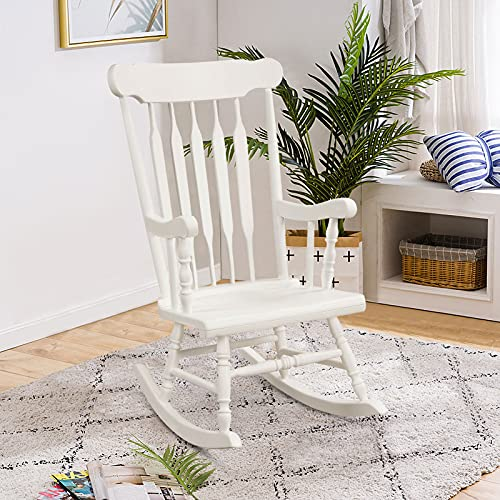 COSTWAY Garden Rocking Chair, Rubber Wood High Back Nursing Armchair Seat, Traditional Relax Rocker Deck Chairs for Living Room, Bedroom, Patio and Terrace