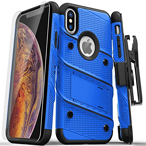 ZIZO Bolt Series for iPhone X Case Military Grade Drop Tested with Screen Protector, Kickstand and Holster iPhone Xs Blue Black
