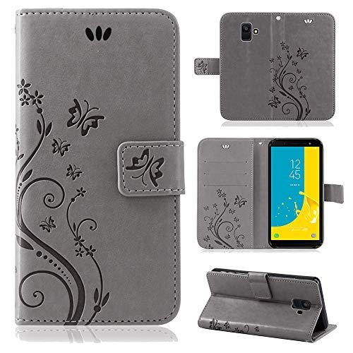 betterfon | Flower Case Handytasche Schutzhülle Blumen Klapptasche Handyhülle Handy Schale für Samsung Galaxy J6 2018 SM-J600 Grau
